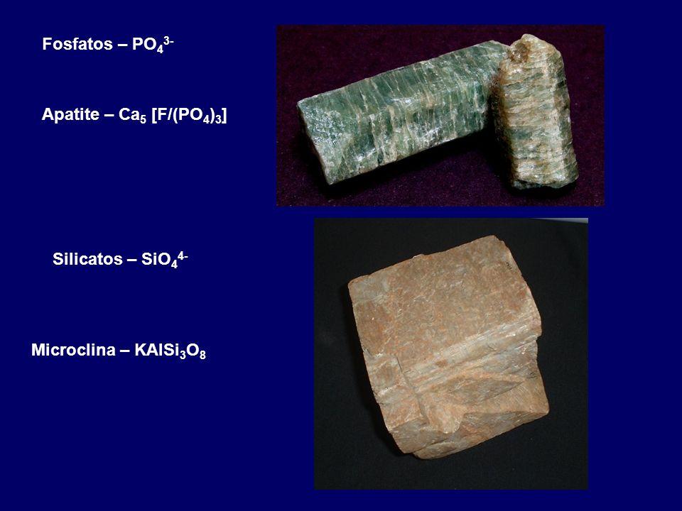 Fosfatos – PO43- Apatite – Ca5 [F/(PO4)3] Silicatos – SiO44- Microclina – KAlSi3O8